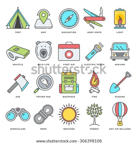 Abstract vector set of line color icons for hiking, camping and outdoor activities. Modern style illustrations and design elements for camping equipment, nature and recreation activities.