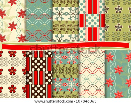 Abstract vector set of scrapbook paper #107846063
