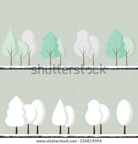 abstract vector set of winter