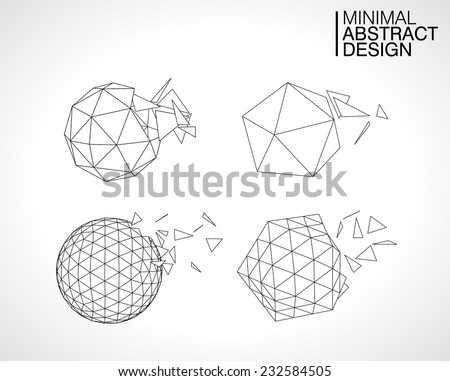 abstract vector shape, Geometric shapes logo design elements set, Shattering vector explosion on white background