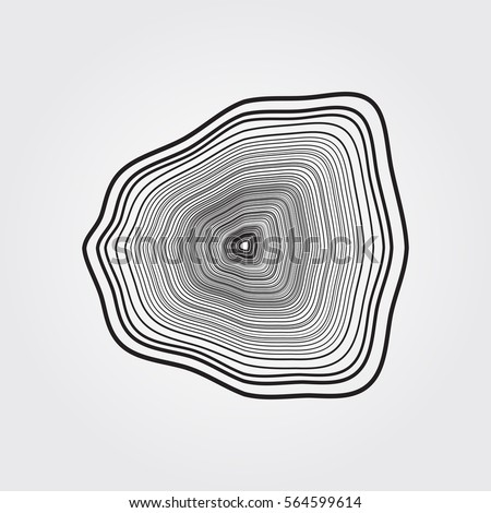Abstract Vector Shape. Tree Rings or Ink In Water.