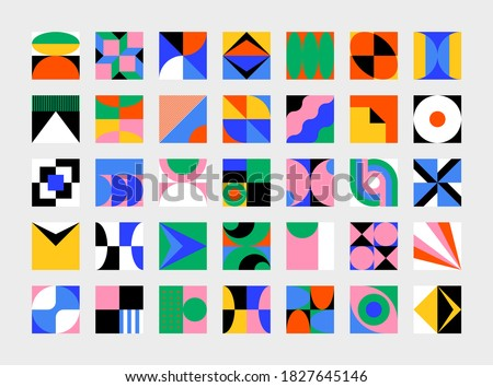 Abstract vector shapes collection of bold graphics elements and simple geometrical forms, useful for web design, poster art, decorative print, invitation letter, background. Stockfoto ©