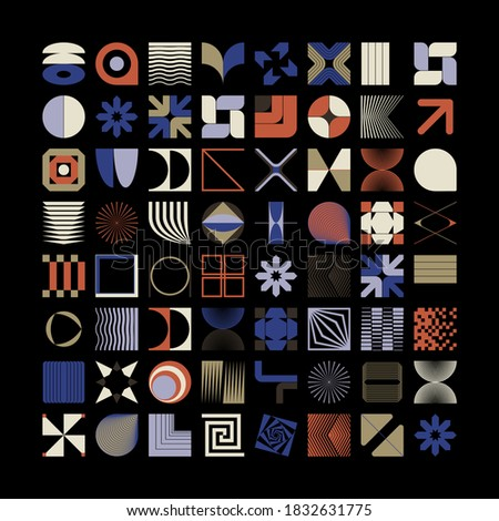 Abstract vector shapes collection of bold graphics elements and simple geometrical forms, useful for web design, poster art, decorative print, invitation letter, background.