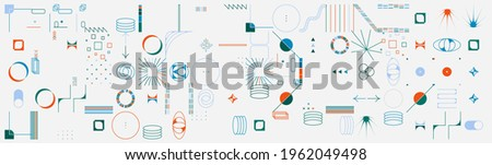 Abstract vector shapes collection of naive hand-drawn elements and simple geometrical forms, useful for web design, poster art, textile design, decorative print, invitation letter, background.