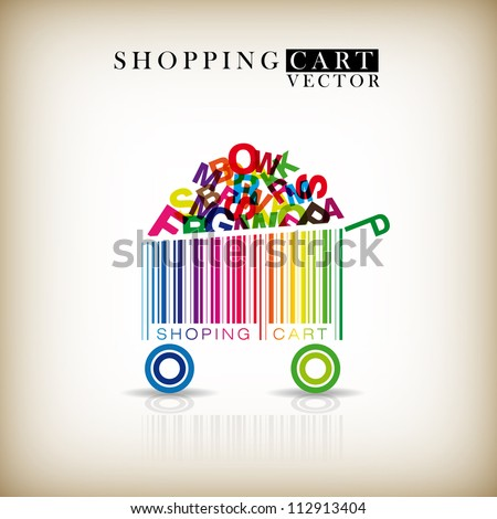 Abstract vector shopping cart made from bar-code