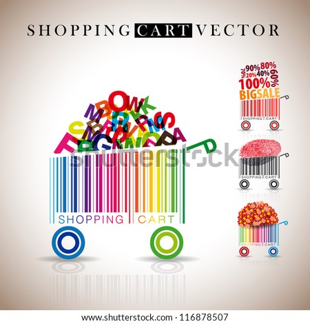 Abstract vector shopping carts made from bar-code - sale, finger print, flowers