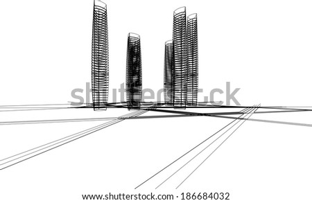 abstract vector skyscraper