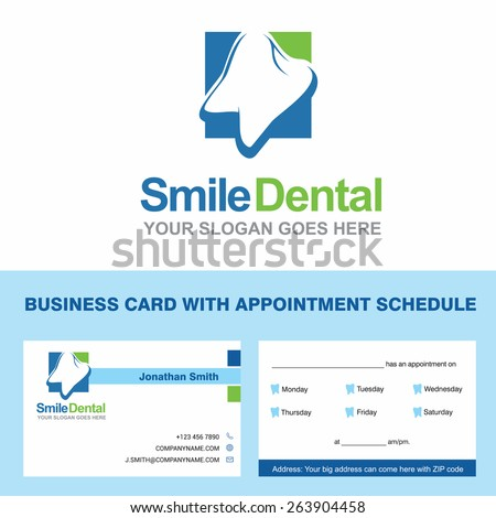 Abstract vector smile dental identity concept visiting card and appointment schedule on back side. Logotype template for branding and corporate business card design blue color composition
