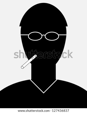 Abstract vector smoker portrait - a simple silhouette of a man with a cigarette