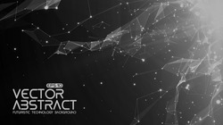 Abstract vector space monochrome background. Chaotically connected points and polygons flying in space. Flying debris. Futuristic technology style. Elegant background for business presentations.