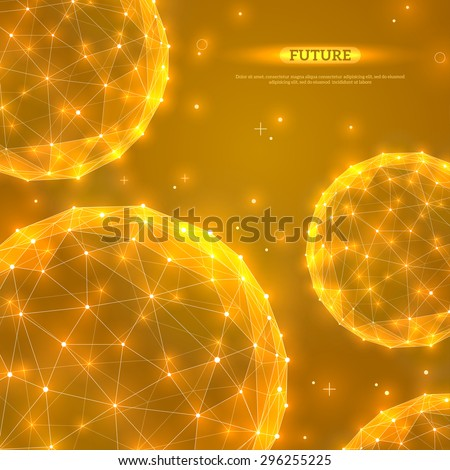 Abstract vector spheres. Futuristic technology wireframe polygonal elements. Connection Structure. Geometric Modern Technology Concept. Digital Data Visualization. Shining scientific background.