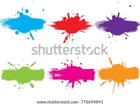 abstract vector splatter label set background. illustration vector design