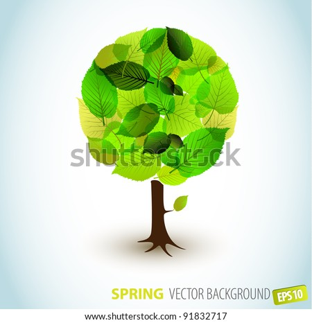 Abstract Vector spring tree illustration - made from fresh leafs