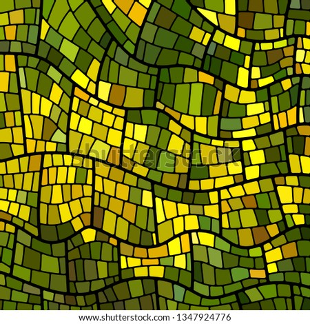 abstract vector stained-glass mosaic background - green and yellow #1347924776
