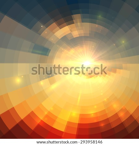 Abstract vector sunrise circle technology background
