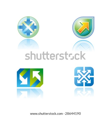 Abstract vector symbols (icons, signs, logos) with arrow