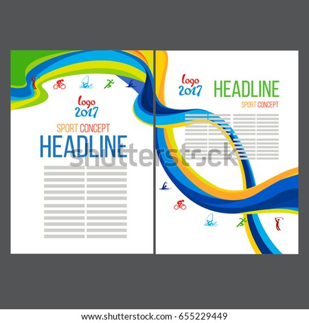 Abstract vector template design, brochure, Web sites, page and leaflet, with colored lines blue and yellow waves, sport symbols logo 2017 and text separately. Sport concept banners.