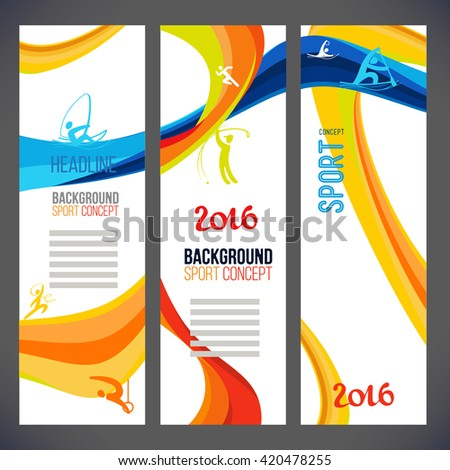 Abstract vector template design, brochure, Web sites, page, leaflet, with colored lines and waves, logo and text separately. Sport concept banners. 2016