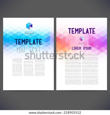 Abstract vector template design, brochure, Web sites, page, leaflet, with colorful geometric triangular backgrounds, logo and text separately for you.