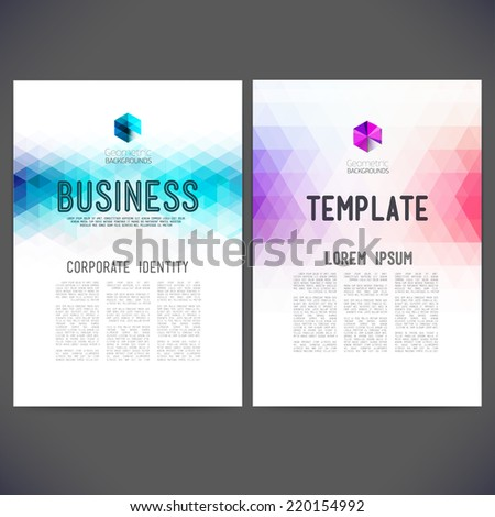 Abstract vector template design brochure Web sites page leaflet with colorful geometric triangular backgrounds logo and text separately