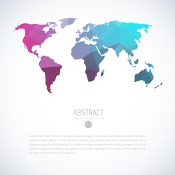 Abstract vector template with world map