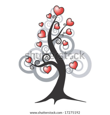 Love Heart Abstract. tree and love hearts