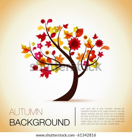 abstract vector tree background for the season of autumn - stock vector