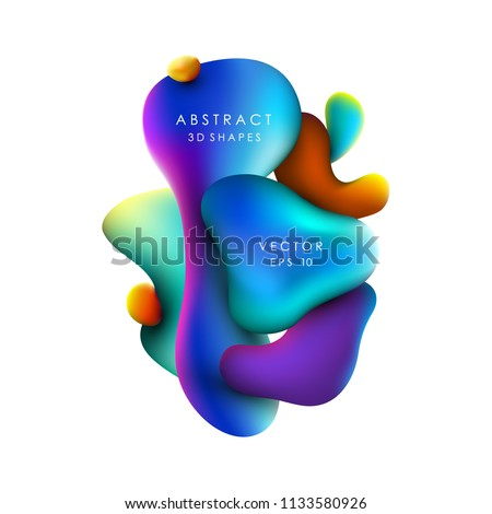 Abstract vector trendy background with fluid gradient 3d shapes, liquid colors. Isolated fluid design elements. Lava lamp. Liquid shapes. #1133580926
