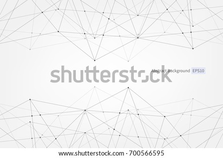 Abstract vector triangle pattern. Low poly technology network background. Lines points connection scientific polygonal illustration for business, molecule structure, presentation, concept, web design