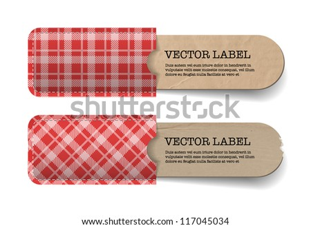 Abstract vector vintage old paper tags with red tartan textured pockets