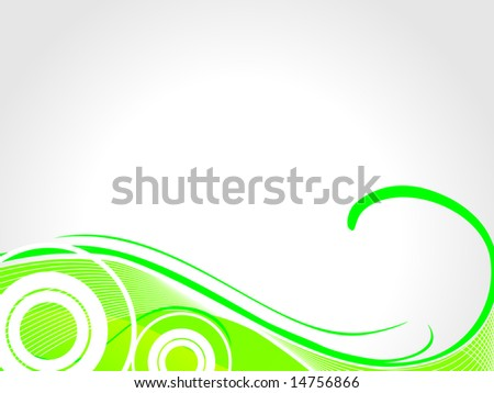 ... green swirl, waves and halftone elements on white background - stock