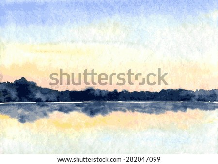 abstract vector watercolor landscape,lake in calm weather at sunset,  hand drawn vector illustration, watercolor background