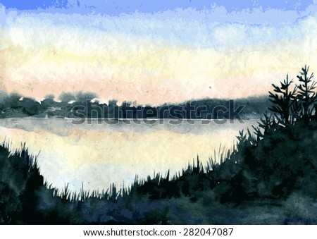 abstract vector watercolor landscape,lake in calm weather at sunset with silhouettes of grass and trees,  hand drawn vector illustration, watercolor background