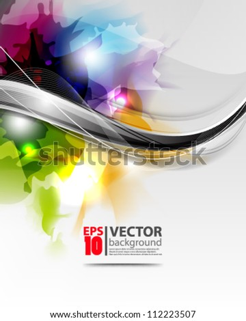 abstract vector wave design with multicolor ink  eps10