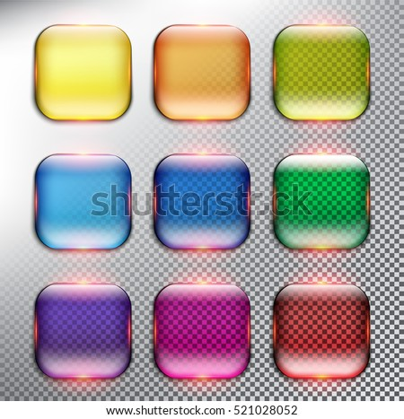 Abstract vector web buttons set of 9. Isolated with realistic, transparent glass shine and shadow on the light background. Vector illustration. Eps10.