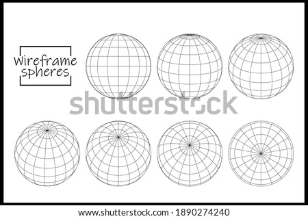 Abstract vector wireframe sphere globe on white isolated. Wireframe globes in different positions. Globe icons