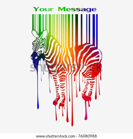 abstract vector zebra silhouette with smudges bar-code