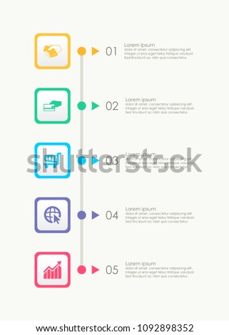 Abstract vertical business infographics template with 5 squares timeline diagrams in white color background