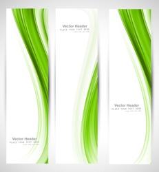 Abstract vertical header green wave vector design