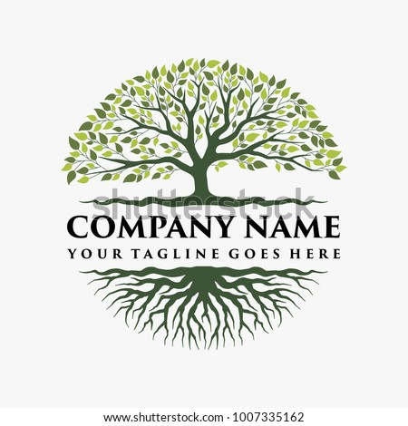 Shutterstock Abstract vibrant tree logo design, root vector