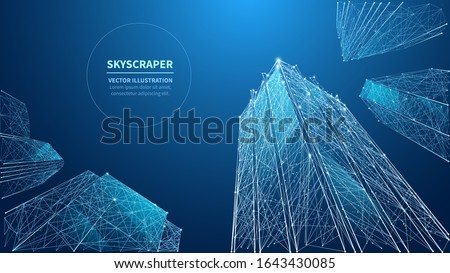 Abstract view of a skyscrapers. Blue modern glass silhouettes of polygonal skyscrapers in the city. Low poly wireframe vector illustration. Bottom view of modern skyscrapers in business district.