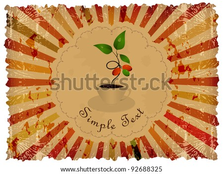 Abstract vintage background with frame, cup of coffee and sprout