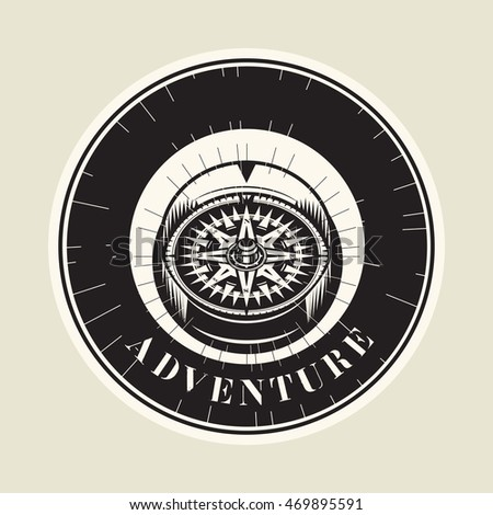 Abstract vintage compass with text Adventure, vector illustration #469895591