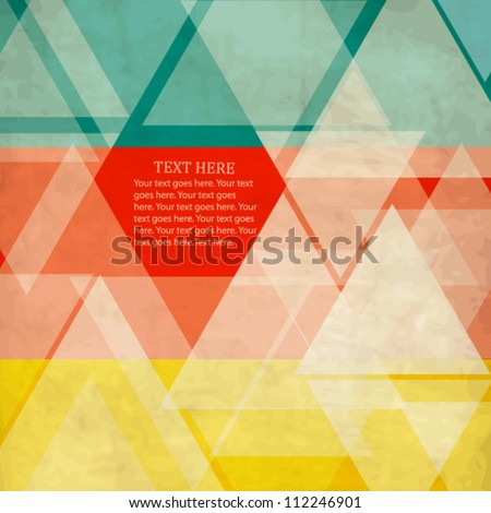 Abstract vintage geometric color-blocked template with triangles