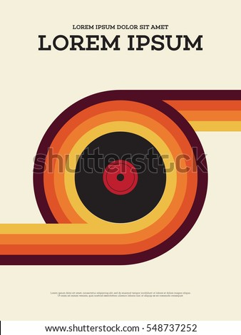 Abstract vintage retro music poster, vinyl record with colorful strips background vector illustration