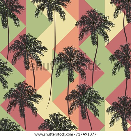 Beautiful Seamless Vector Floral Summer Pattern Background With Palm Trees Abstract Geometric Texture Stripes Perfect For Wallpapers Web Page