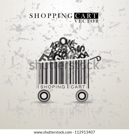 Abstract vintage vector shopping cart made from bar-code