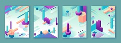 Abstract violet green isometric posters set in trendy purple color with geometric 3d shapes, brochure collection, futuristic background, colorful bright vector illustration, cover, print