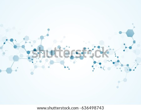 Abstract virtual background with molecular structure particles. Scientific Concepts and Vector Connections