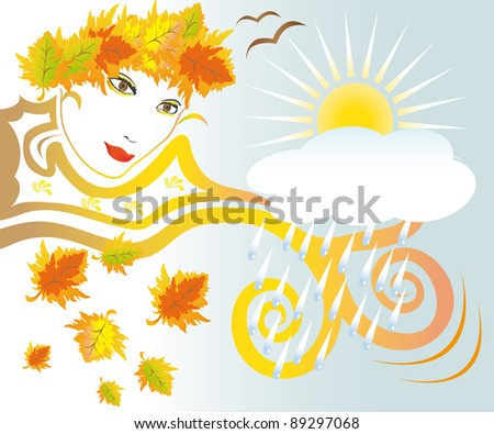 Abstract vision of autumn face with rain, cloud and leaves